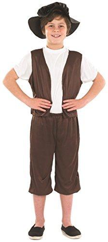 Tudor Kostüme Jungen (Jungen Brauner Tudor Shakespeare Historisch Buch Tag Kostüm Verkleidung Outfit 6-12 jahre - Braun, EU)