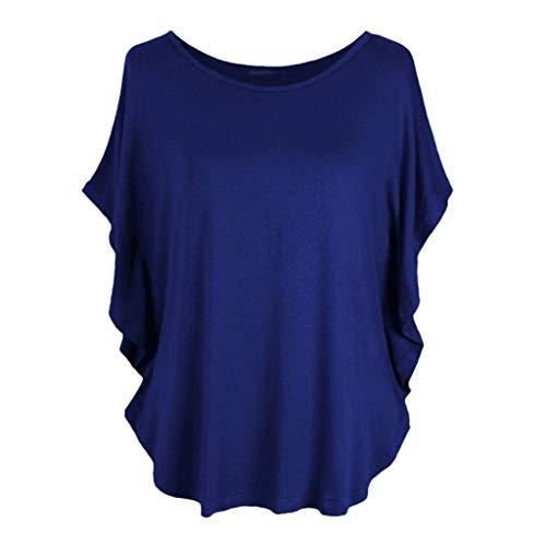 Overdose Frauen Plus Größe Lose V-Ausschnitt Kurzarm Solid Farbe Tops Plissee Bluse T-Shirt Damen Sommer Tops Oberteile