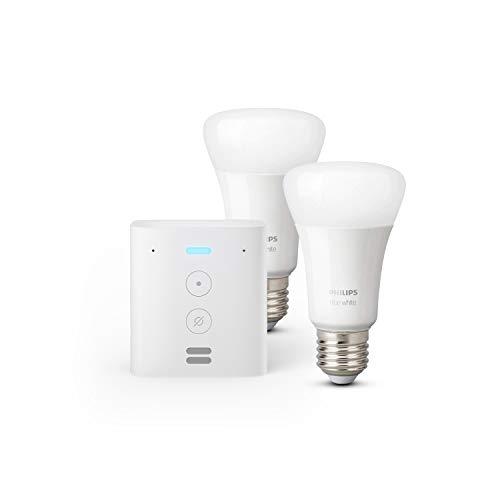 Oferta de Echo Flex + Philips Hue White Pack de 2 bombillas LED inteligentes, compatible con Bluetooth y Zigbee, no se requiere controlador