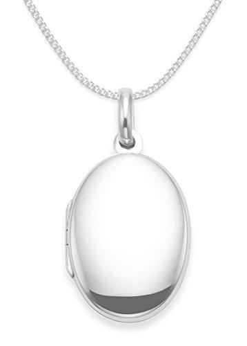 Sterling Silber Medaillon Halskette auf 43,2cm (43cm) Silber Kette–Große Ebene Oval Medaillon. Größe: 34mm x 22mm–6,7GMS Geschenkbox. 8006/8501/17 (Silver-medallion-anhänger)