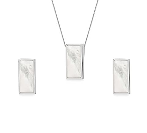 Tuscany Silver Sterling Silver Rectangular Mother of Pearl Set of Earrings and Pendant on Curb Chain of 41cm/16