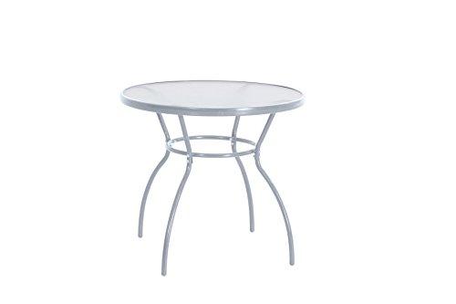 garten glastisch rund greemotion Tisch Prag silber, Gartentisch mit klarer Glasplatte, runder Esstisch mit robustem Stahlgestell, ideal für ca. 2-4 Personen