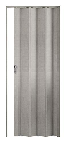 Porta soffietto elly con pomolo e serratura, tessuto grigio.