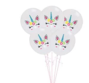 "Partysanthe Unicorn Logo Happy Birthday Printed 10"" Latex Balloons Pink /Birthday Theme(Pack of 10)"