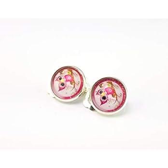 Stechschmuck Ohrclips Ohrklemmen Handmade Eule Rosa Farben Silber Farben Damen Kinder Kitsch Kawaii 14mm 1 Paar