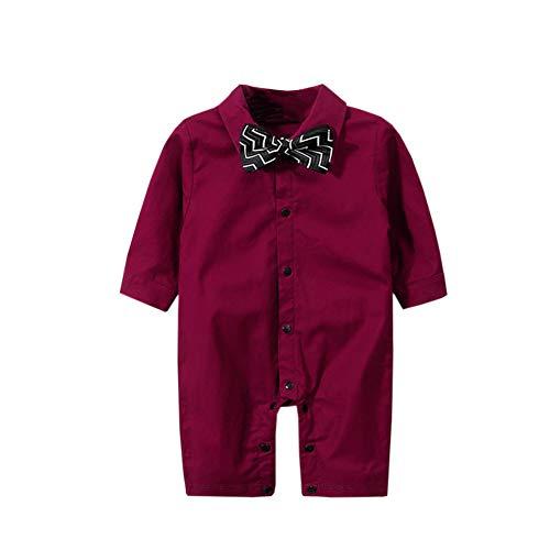(ZIHUOKIJ Säuglingsbaby Jungs Gentleman Outfit Strampelanzug Formaler Spielanzug Smoking mit Fliege Size 90(12-18Monate) (Wine red))
