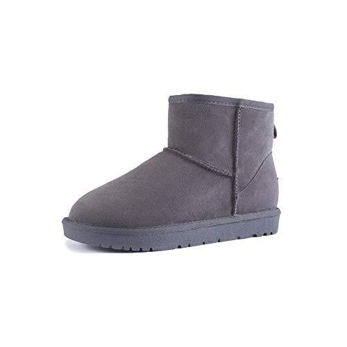 FF Schneeschuhe Weibliche Kurze Stiefel Warme Baumwolle Schuhe Student Verdicken Plus SAMT Echtem Leder Rindsleder Flache Rutschfeste damenstiefel (Farbe : Grau, Size : EU37/UK4.5-5/CN37)