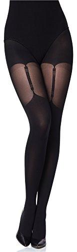 Merry Style Damen Strumpfhose MS 260 40 DEN (Schwarz, L (40-44)) - Plus Size Halterlose Strümpfe Strumpfhose