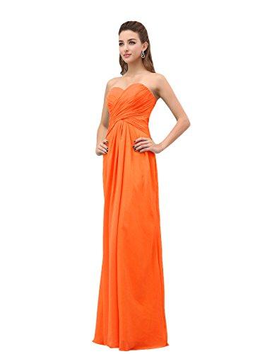 Dresstells, A-ligne robe de soirée robe de demoiselle d'honneur longueur ras du sol en mousseline de soie Orange