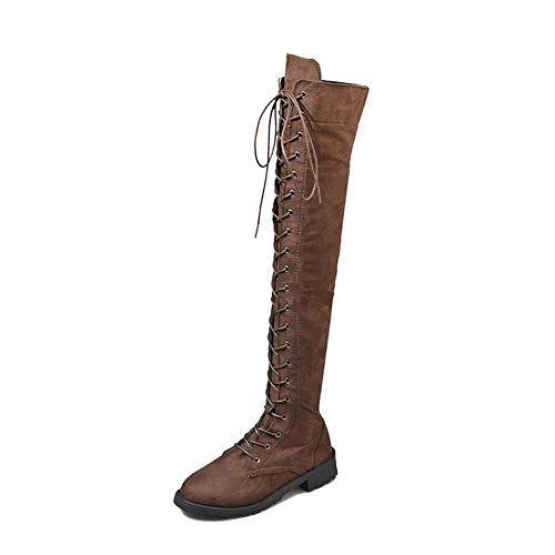 Anokar Stiefel Damen Overknee Stiefel Flach Winter Flachen Wildleder Schnüren Plateau High Boots Winterschuhe Bequeme Casual Elegante Schuhe Schwarz Braun Grün Gr.35-43 BR41