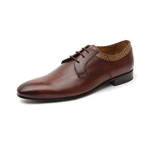 Gordon & Bros Lorenzo 623050 Herrenschuhe Herren Businessschuhe, Schnürhalbschuhe, Anzugsschuhe, Derby Schuhe, Blake Rot (dk burgungdy grey grey), EU 42