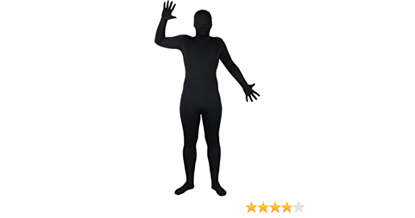 SKINZ BLACK ALL SIZES ADULT LYCRA COSTUME FANCY DRESS UP PARTY