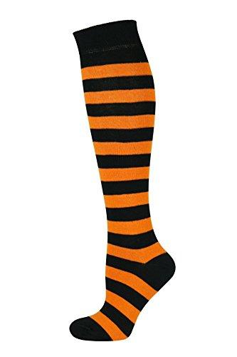 MySocks Unisex Kniehohe lange Socken Streifen Orange Schwarz