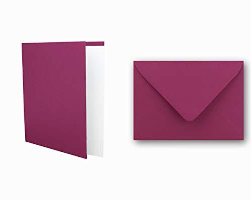 Einladungskarten inklusive Briefumschläge & Einlegeblätter - 25er-Set - Blanko Klapp-Karten in Amarena - bedruckbare Post-Karten in DIN B6 Format - speziell zum Selbstgestalten & Kreieren
