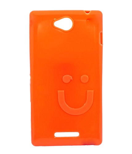 iCandy™ Imported Quality Soft TPU Smiley Back Cover For Sony Xperia C C2305 S39H - Fanta  available at amazon for Rs.109