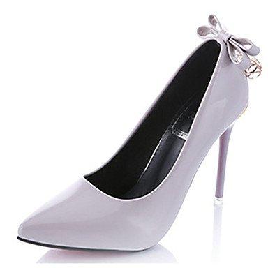 Moda Donna Sandali Sexy donna caduta tacchi tacchi in pelle di brevetto Wedding Stiletto Heel Bowknot nero / viola / rosso / grigio altri gray