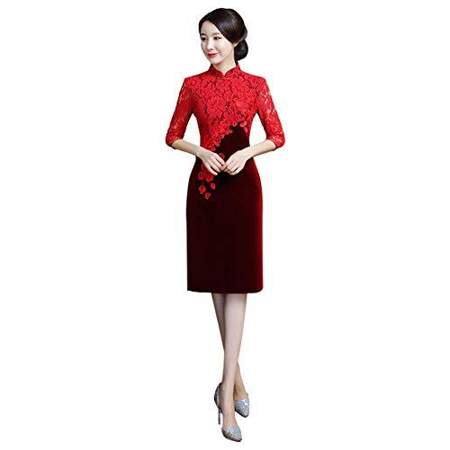 Xinvision Damen Chinesischer Vintage Qipao - Blumenstickerei Kleid Spitze Halbe Ärmel Schlank Frauen Cheongsam