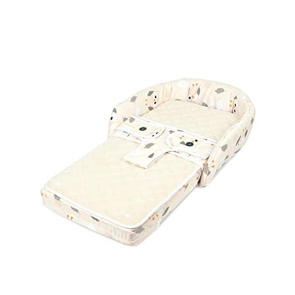 YANGGUANGBAOBEI Bionic Bed,Breathable Lounger Cotton Waffle Handmade Reducer - Perfect For Co Sleeping,for 0-24 Months,Beige YANGGUANGBAOBEI [From Baby Bed to Backpack, Even Diaper Bag] It creates a comfy, cozy and safe space to co-sleep, nap for your baby. Folding design transforms it to a backpack in seconds. Extra inner space makes it to be a alternative diaper Bag . [Lightweight Changing Station with Sound - Light] The baby bed and portable cosleeper can also be used used as a diaper changing mat.This perfect and practical solution makes mother's whole traveling with baby easier and more relax. [Waterproof Mattress - Easy To Clean] The pad of the bassinet is waterproof, while the entire removable liner is machine-washable so you don't have to worry about spills, messes, or rough terrain. Keeps your baby's lounger clean and hygienic. 1