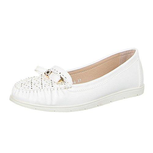Damen Schuhe, ZH68-2, MOKASSINS, STRASS DEKO HALBSCHUHE, Synthetik in hochwertiger Lederoptik, Weiß, Gr 40 (Strass-mokassin)