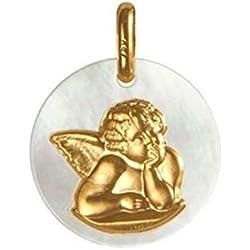 Premier Carat - Médaille de Bapteme Ange Nacre et Or - Médaille religieuse d'une Ange réveur en Nacre Naturelle et Or Jaune 18 carats - Cadeau de Naissance ou Bapteme idéal