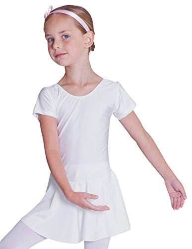tanzmuster Kinder Kurzarm Ballett Trikot Marina mit Röckchen aus glänzendem Material in weiß, Größe:92/98