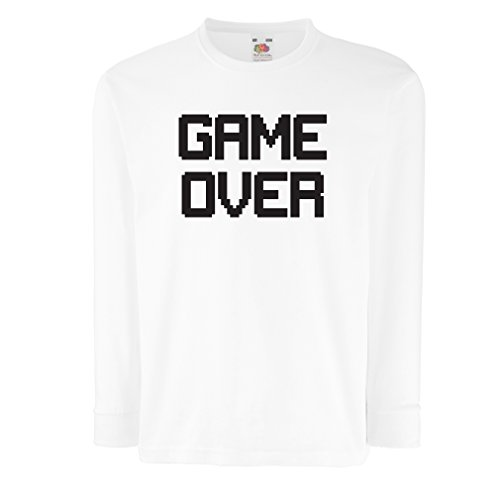 Kinder-T-Shirt mit langen Ärmeln Spiel über lustige Gamergeschenke (7-8 years Weiß (Yourself Coole It Do Kostüme)