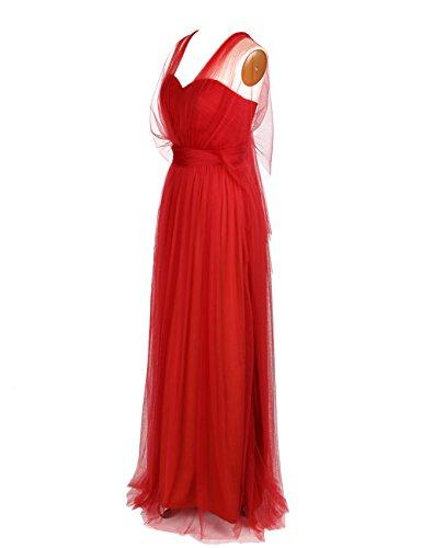 Dressystar Robe de soirée longue pour mariage, Au drapé, en Tulle Rouge