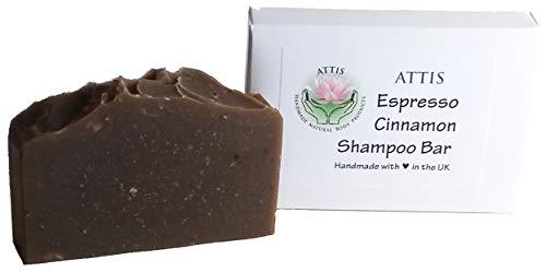 ATTIS Handgemachtes Espresso - Zimt-Shampoo-Bar - mit Kaffeepulver und ätherischem Öl