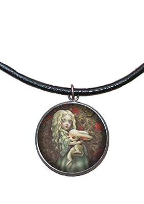 Pendentif en acier inoxydable, 30 mm, cordon en cuir, fait à la main, illustration Alice au pays des merveilles
