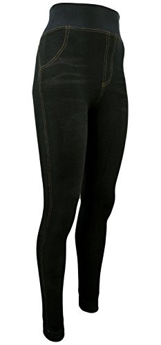 Damen Thermo- Winter- Leggings gefüttert - Jeans Optik in blau o. schwarz - Teddyfutter (36-40, Schwarz) (Leggings Baumwolle Thermo)