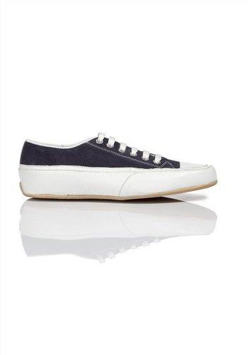 Schnürschuh von Apart aus Leder in Weiß / Navy Weiß / Navy Blau
