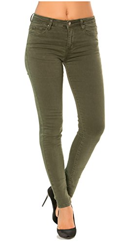 Nina Carter Mujer Vaqueros Pitillos Pantalones Jeans Skinny Denim Kaki Talla 38
