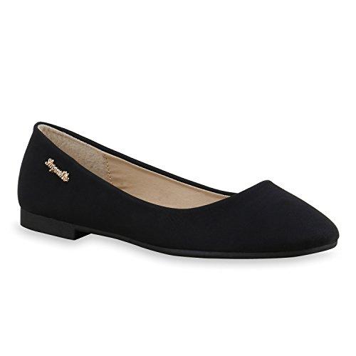 Klassische Damen Strass Ballerinas Elegante Slipper Übergrößen Metallic Glitzer Flats Schuhe 134611 Schwarz Gold 37 Flandell (Ballerina Gold Flats)