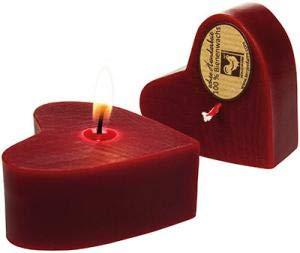 Kerzenfarm Hahn Bienenwachs-Herz rot (Bio) - Bio-rote Herzen
