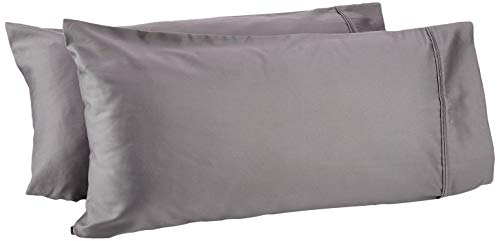 AmazonBasics - Set de 2 fundas de almohada de 400 hilos, 50 x 80 cm - Gris oscuro