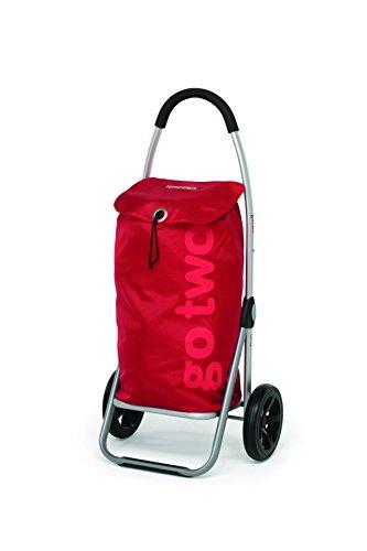 Foppapedretti go two, carrello spesa, alluminio e nylon, red