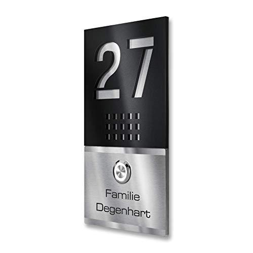 Edelstahl Türklingel direkt vom Hersteller GRATIS Gravur-Service LED Klingeltaster V2A, Klingelplatte, Geschenkidee, Klingelschild - Maße: 110 x 200 mm - Tabellen 20 Einheit