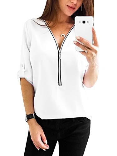 YOINS Sexy Oberteil Damen Sommer Elegante Langarmshirts Damen Bluse Tunika Frühling T-Shirt V-Ausschnitt Tops Weiß(Größer als Reguläre Größe) XS/EU32-34