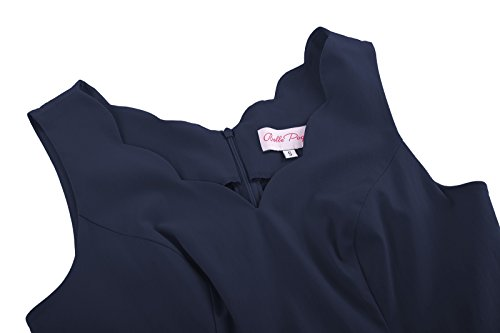 Belle Poque 50s Vintage Rockabilly Kleid Festliches Kleid Partykleider Petticoat Kleid BP269-2(Marineblau)