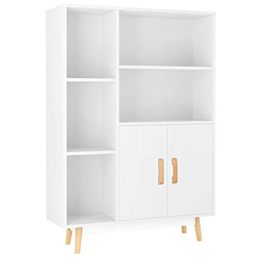 Homfa Kommode Sideboard Schrank Schubladenkommode Highboard Anrichte mit 2 Türen 5 Fächern weiß 80 x 23.5 x119cm -