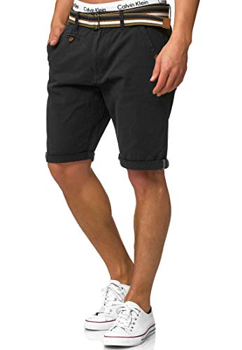 Indicode Herren Cuba Chino-Shorts Kurze Hose mit Gürtel aus 100% Baumwolle New Black XXL -