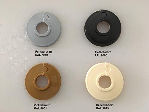 6 STÜCK Einzel-Rosetten für Heizungsrohre, Abdeckung für Heizungsrohre, Heizung, 15mm, 18mm, 22mm Polyäthylen in Sonderfarben: elfenbein-, grau-, schwarz & eiche-Töne (15 mm, RAL 1015) -
