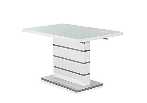 Esstisch, Ausziehtisch, Säulentisch, Küchentisch, Esszimmertisch, Tisch, weiß, Hochglanz, Synchronauszug, ausziehbar, chrom, 120 x 80 cm