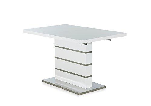 lifestyle4living Esstisch, Ausziehtisch, Säulentisch, Küchentisch, Esszimmertisch, Tisch, weiß, Hochglanz, Synchronauszug, ausziehbar, Chrom, 120 x 80 cm