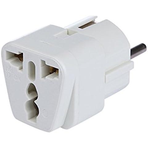 DBPOWER® Universal Adaptador de viaje adaptador de enchufe convertidor de viaje US UK a EU (de) Conector, conector de viaje/Travel Plug/adaptador Plug universal a de y para la UE, Blanco