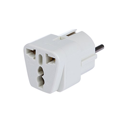 Universal Reiseadapter Netzstecker-Adapter Reise-Konverter US UK zu EU (DE) Anschluss, Reisestecker / Travel Plug / Adapter Plug Universal auf DE und fuer die EU, Weiss