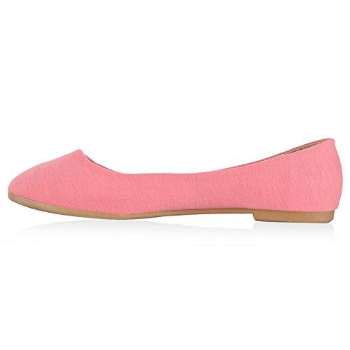 Damen Ballerinas Schuhe Halbschuh flache Schuhe Slipper Rosa Nude Beige