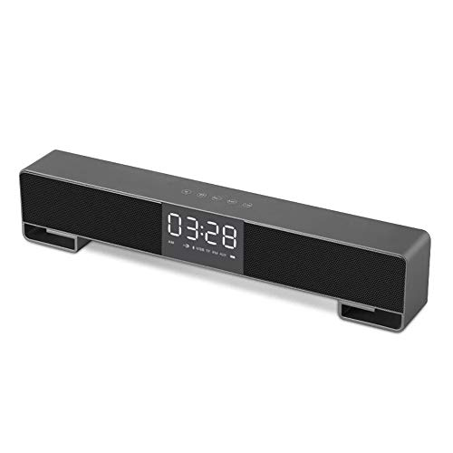 ZENWEN Drahtlose Bluetooth-Lautsprecher Desktop Clock Portable Bar Multi-Bass Surround Sound dual-Lautsprecher Dual-Ton Bluetooth Soundbar Lautsprecher für PC-Notebook-Smartphone-Geräte (Sound Bluetooth Bars)