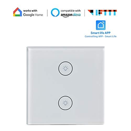 Intelligenter Lichtschalter 10A Universal-Wandeinbauleuchte Schalten Sie die Wifi-Fernbedienung Steuer-Timer Kompatibel mit Alexa Google-Startseite IFTTT Easy Safe-Installation (1er-Pack) SPDYCESS