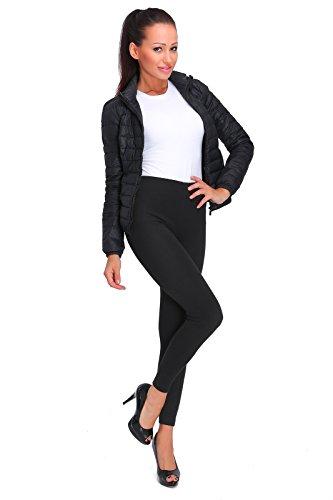 FUTURO FASHION Épais Hiver Doublure Polaire Leggings Longueur Maxi Coton Chaude Tissu P28 - Noir, 40